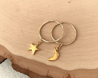 Mismatched Star and Moon Celestial Gold Endless Hoop Earrings