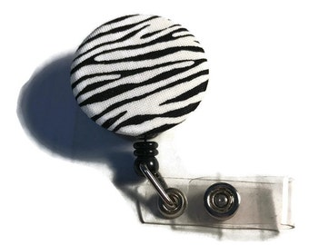 Black/White  Zebra Print Badge Reel Slide Clip or Swivel Clip - Id Holder- Retractable Monogram Optional