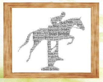 Showjumper personalised Gift horse and rider christmas birthday present