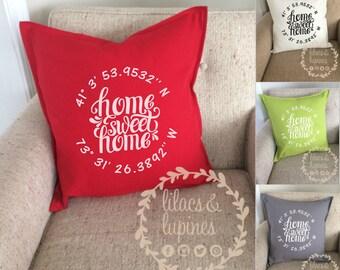 "Longitude Latitude Pillow Home Sweet Home 20"" x 20"" Canvas Pillow Cover   Home Sweet Home Wedding Gift Housewarming longitude latitude"
