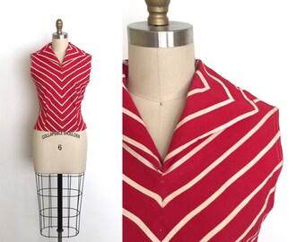 vintage 1950s top | 50s striped cotton blouse