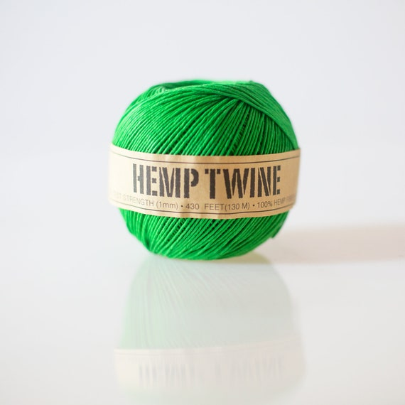 Green Hemp Twine - 1 mm - 430 feet | eco-friendly packaging- string for tags, jewelry & paper crafts |  birthday party decor
