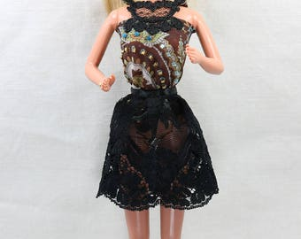 Barbie dresses; barbie silk laced embroidered top with black lace skirt; Fashion barbie; handmade; doll clothes