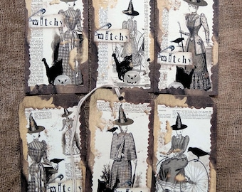 Mixed Halloween Witch Black Cat Pumpkin Gift or Scrapbook Tags #T 23