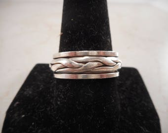 Vintage Sterling Silver Spinner Wedding Band Size 11 ,Woven Braid Design Ring