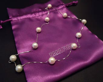 925-Silver Modern Freshwater Pearl Necklace, Wedding Pearls, Bridesmaids Necklace