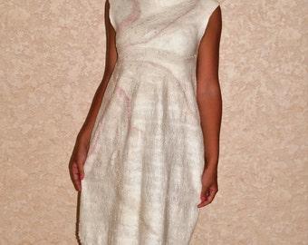 "Dress nunovojlok ""cream"" Felted dress ""Cream"" sold"