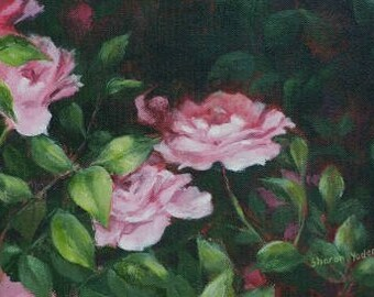 """Original Acrylic Painting of Roses - includes Frame - 11""""x14"""""""