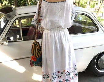 Botanica Embroidered Linen Maxi Skirt