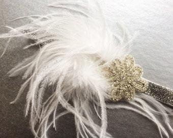 Great Gatsby Headpiece - Silver Flapper Headband - Bridal Flapper Headband - Gatsby Headband for Women - Silver Sparkle 1920s Headband -