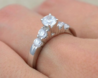 Engagement Diamond Ring with .50 carat center diamond in 14 karat white gold, White Gold Diamond Engagement ring