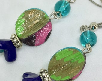 Embellished PAPER Earrings - Italian Paper - Bright and Colorful - Dramatic Drop Earrings - One of a Kind