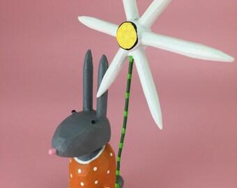 Bunny Rabbit Sculpture with Pastel Dress   Easter Bunny   Spring Rabbit   Bunny Rabbit with Daisy