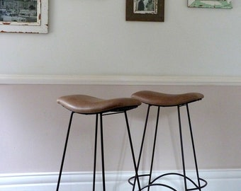Pair of Vintage 1960s Leather Bar Stools/ Cafe Stools