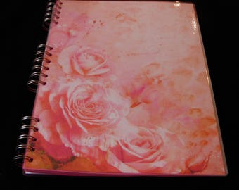 Roses Notebook, Rose Print Notebook, Roses Jotter, Laminated Notebook, A4, Personalisation Possible