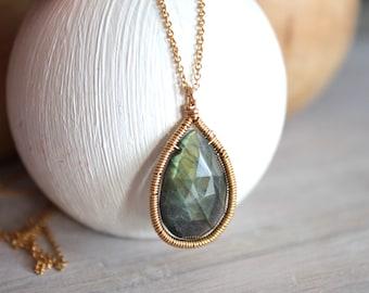 Labradorite Pendant Gold Chain Necklace Gemstone Necklace  - Boho Jewelry- Gemstone Jewelry