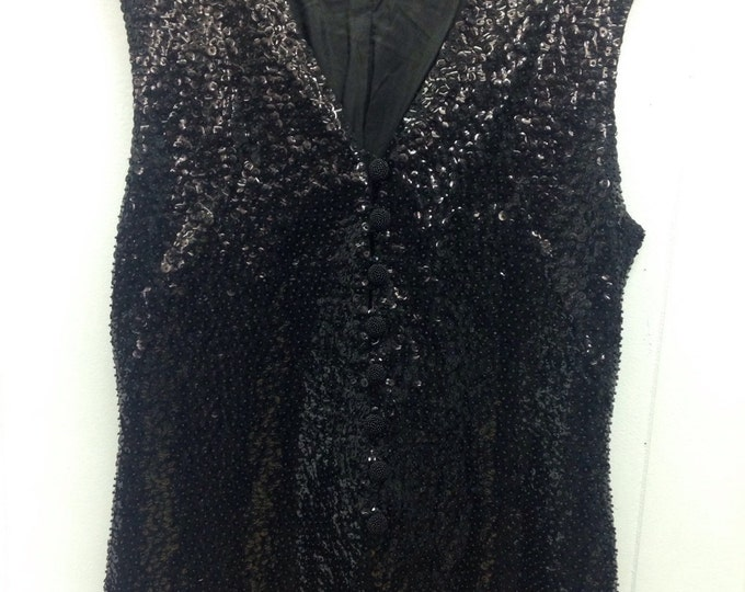 1960's Black Sequin Tunic. Buttons up the front, 100% wool
