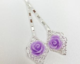Purple Bridal Hair Pin Bobby Hair Pin Purple Wedding Hair Accessory Violet Hair Pin Bridesmaid Hair Jewellery Flower Girl Gift