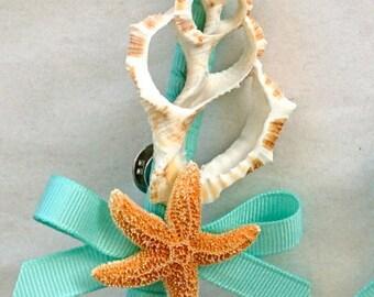 Beach Wedding Seashell Boutonniere, Groom Lapel Pins, Groom Seashell Pin, Prom Lapel Pin, Starfish Lapel Pin, Starfish Boutonniere