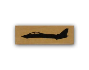 F14 Fighter Jet silhouette side Mounted rubber stamp, USAF, Air Force, military plane, Crazy Mountain Stamps #4