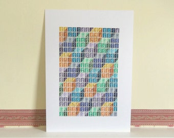 Multicolour Postage Stamp Art | Upcycled Geometric Wall Art Unframed | Recycled Art Collage | Box Cube Optical Illusion | Retro Office Decor