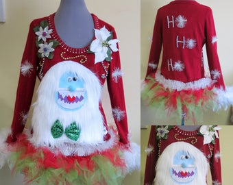 3-D Furry Fuzzy The Abominable Yeti Snowman  Light up Tacky Ugly Christmas Sweater with matching  TUTU size Medium, Light up Sweater,