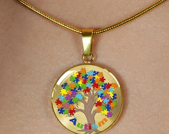 Silver or Gold Autism Awareness charm pendent necklace