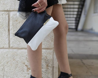Leather bags-clutch bags - balck and white