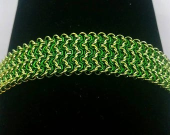 Forest Green and Lime Elf Weave Chainmaille Bracelet Chainmail