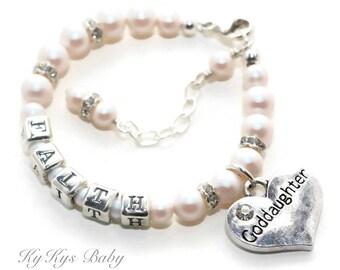 Goddaughter Gift Baptism - FREE Gift Box - Goddaughter Bracelet - Baby Bracelet - Baptism Gift for Goddaughter - Personalized Baby Bracelet
