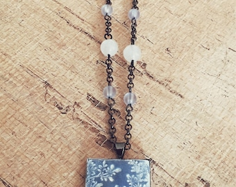 One Of A Kind ~ Hand made faux stone pendent in faded denim blue washed in white By Brooke Baker on 24 inch gunmetal chain