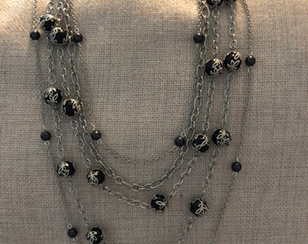 5-layer black pearl necklace