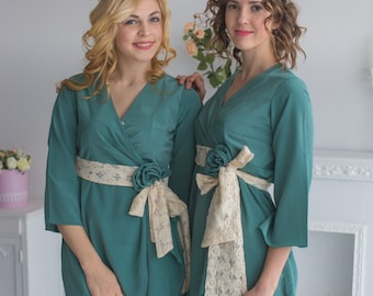 Dusty Teal Rosette Robes for your bridesmaids in Premium Silk Chiffon