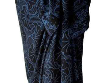 Black Beach Sarong Batik Pareo Mens or Womens Beach Clothing Gingko Leaf Beach Sarong Cover Up - Hawaiian Sarong Black & Gray Batik Sarong