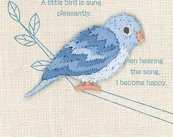 Blue Parrotlet, Bird Patch, Embroidered Iron On Patch, Japanese Colorful Iron on Applique, Made in Japan, Kawaii Embroidery Applique, W101