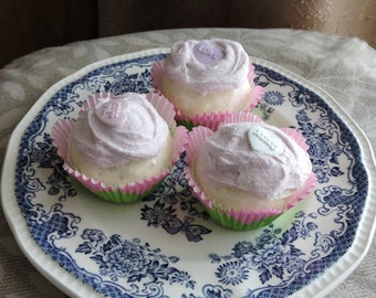 Set of Three 3 Faux Mini Cupcakes Pink Frosting Sparkly Fake Food Photo Staging Prop