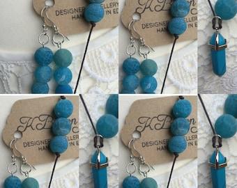 Gemstone YNecklace and Earrings Set, Agate Jewellery, Malachite Turquoise Jewellery Set, Earrings and YNeclace Set, Edinburgh Jewellery
