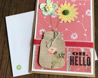 Hello card, hello greeting card, all occasion card, handmade greeting card, all occasion greeting card, hello mail, all occasion greeting