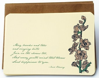 An Irish Blessing Notecard Set in Cream, Green and Mauve -Set of 6 flat Notecards and Kraft Envelopes