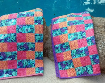 Handmade Baby Blanket, Baby Shower Gift, Baby Quilts, Lavender Quilt, Pink Baby Quilt
