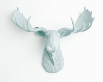 Faux Taxidermy Moose - The Freyja -  Resin Moose Head- Moose Resin Powder Blue - Blue Home Decor by White Faux Taxidermy Animal Sculptures