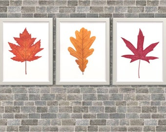 Autumn leaves art print, autumn leaf watercolor printable, fall decor, fall colors wall art, living room decor, watercolor digital file