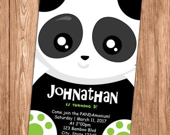 Panda Party Invitation - First Birthday Invite - 1st - Black, White and Green - Printable or Printed - SHIPPING INCLUDED - 4x6
