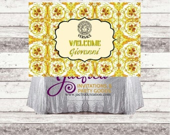 Designer inspired wall banner.. Candy table backdrop  4x6 ft
