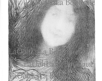 1898 Under the Flowers Digital Printable Mother Nature Face Edmond-François Aman-Jean Art Nouveau Goddess Mythology Fantasy Card Image Print