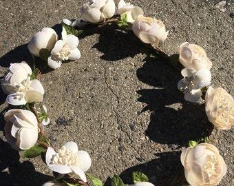 Ivory flower crown for music festival /wedding accessory / crown hair wreath  /halo/ / Garden party/hippie flower crown /