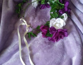 Silk rose head wreath for child or adult