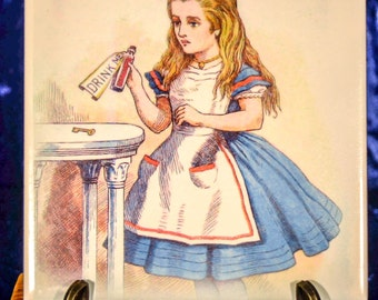 Original Tenniel Drawing Alice in Wonderland Ceramic Tile Coaster 15cm x15 cm (5.9 x 5.9 Inches) Cork Backed heat resistant