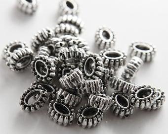 20pcs Oxidized Silver Tone Base Metal Charms-Spacer 9x7mm (8305Y-F-317A)