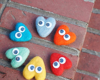 Wool Felt Heart Hair Clip Set (2 of set), hair clip and brooch,  choose 2 colors, valenitnes day gifts